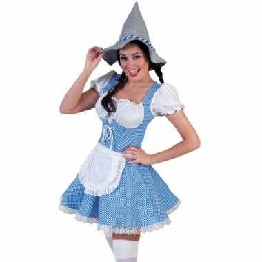 Blauw geblokte Oktoberfest carnavalskleding dames