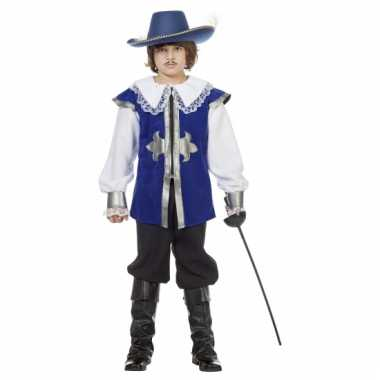 Blauw musketiers carnavalskleding kind