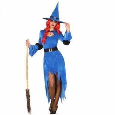 Blauwe heksencarnavalskleding hoed dames