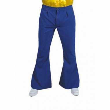 Blauwe hippie heren broeken carnavalskleding