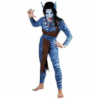 Blauwe jungle strijdster dames carnavalskleding