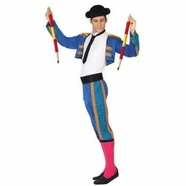 Blauwe spaanse matador/stierenvechter carnavalskledingcarnavalskledin