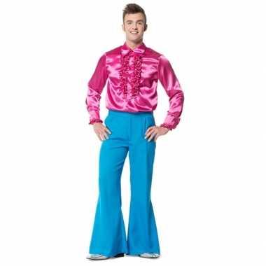 Broek blauw wijd uitlopend heren carnavalskleding