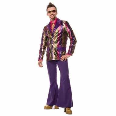 Broek paars wijd uitlopend heren carnavalskleding