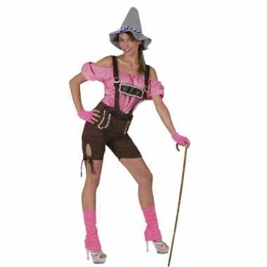 Bruine Oktoberfest lederhose dames carnavalskleding