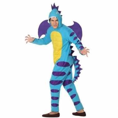 Carnavalskleding blauwe draak volwassenen
