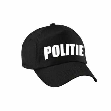 Carnavalskleding politie agent pet / cap zwart ongens meises