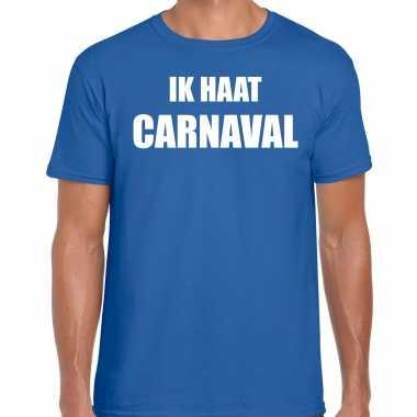 Carnavalskleding shirt blauw heren ik haat carnavalskleding