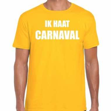 Carnavalskleding shirt geel heren ik haat carnavalskleding