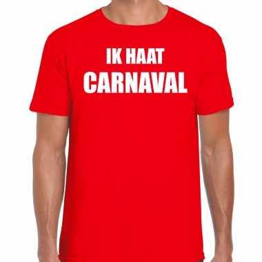 Carnavalskleding shirt rood heren ik haat carnavalskleding