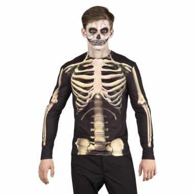 Carnavalskleding t shirt skelet heren