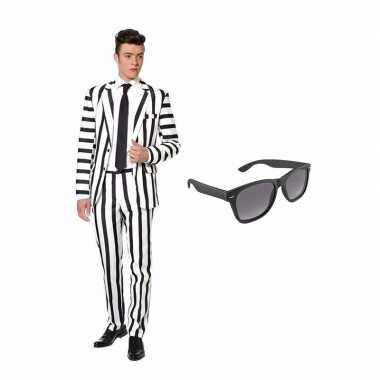Carnavalskleding zwart/witte strepen print heren carnavalscarnavalskl
