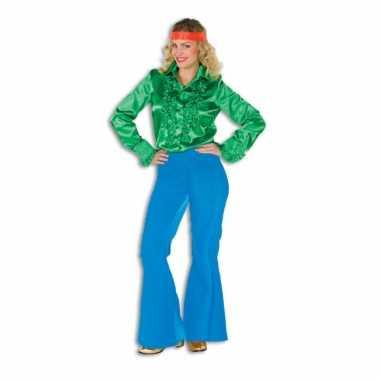Dames broek blauw wijd uitlopend carnavalskleding