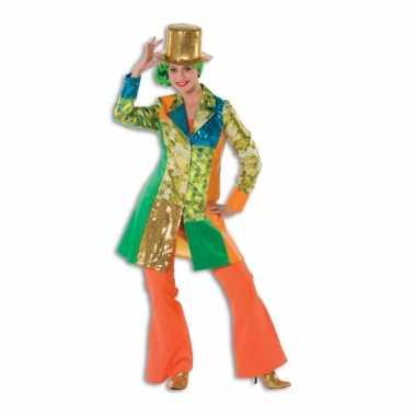 Dames broek oranje wijd uitlopend carnavalskleding