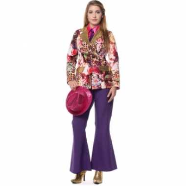 Dames broek paars wijd uitlopend carnavalskleding