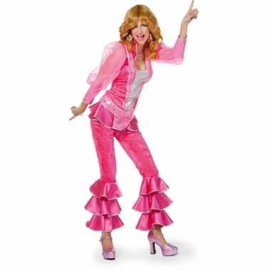 Disco carnavalskleding roze zilver