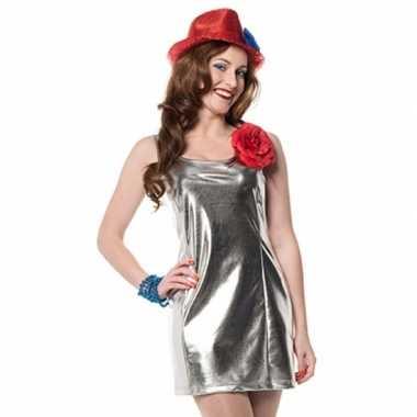 Disco carnavalskleding zilver dames