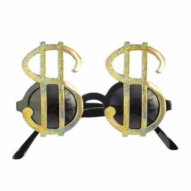 Dollar brillen goud carnavalskleding