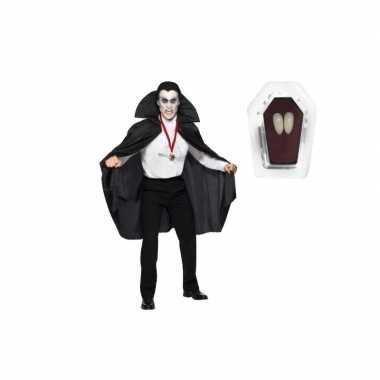 Dracula cape inclusief hoektanden volwassenen carnavalskleding
