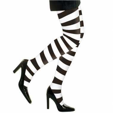 Feest party gestreepte heksen panty maillot zwart wit dames carnavalskleding