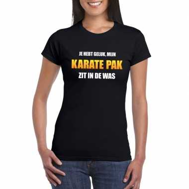 Fun t shirt karatecarnavalscarnavalskleding was zwart dames