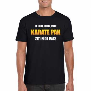 Fun t shirt karatecarnavalscarnavalskleding was zwart heren