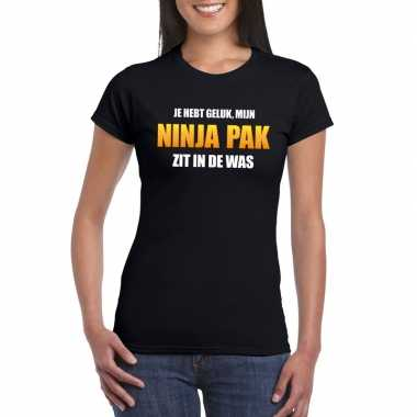 Fun t shirt ninacarnavalscarnavalskleding was zwart dames