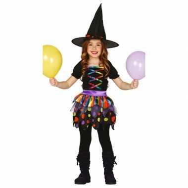 Gekleurd heksen carnavalskleding kind