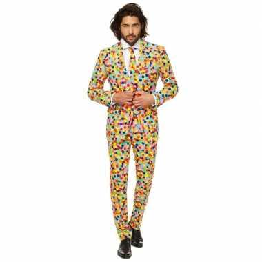 Gekleurde business suit confetti print carnavalskleding