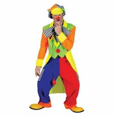 Gekleurde heren clown carnavalskleding