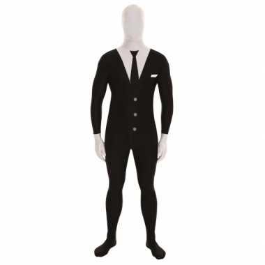 Goedkope morph carnavalskleding businessman print zwart