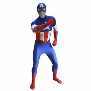Goedkope morph carnavalskleding Captain America print