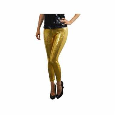Gouden dames leggings pailletten carnavalskleding