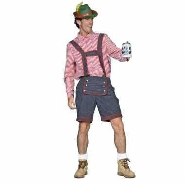 Grijs rode Oktoberfest lederhosen carnavalskleding