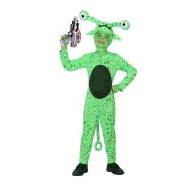 Groene alien carnavalskleding space gun kind