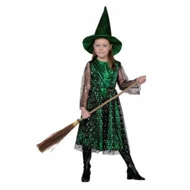 Groene kinder heksen carnavalskleding