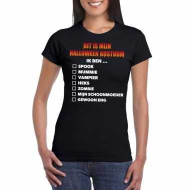 Halloween dames shirt checklist zwart carnavalskleding