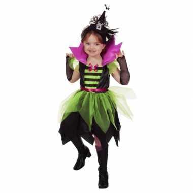 Heksen carnavalskleding groen/zwart kind