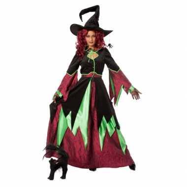 Heksen carnavalskleding rood/groen dames