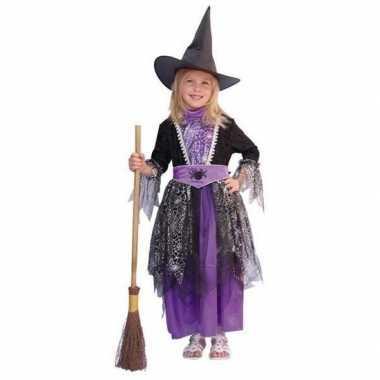 Heksen kinder carnavalskleding zwart/paars