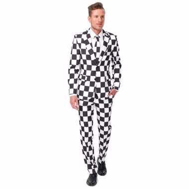 Heren carnavalskleding zwart wit geblokt print