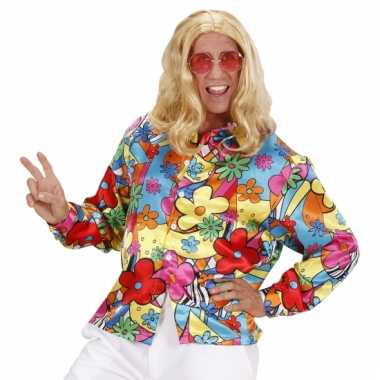 Hippie flower power shirt heren carnavalskleding