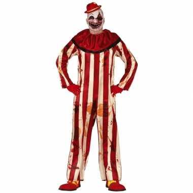 Killer clown halloween carnavalskleding carnavalskleding rood/wit her