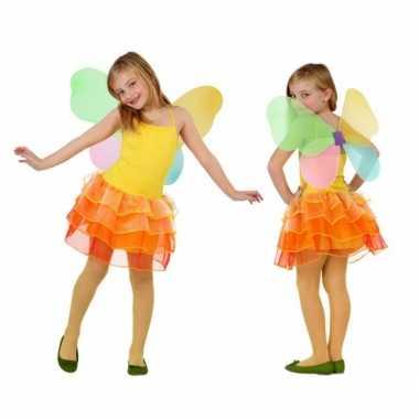 Kind vlinder carnavalskleding geel/oranje