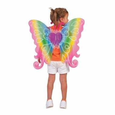 Kinder carnavalskleding vleugels regenboog