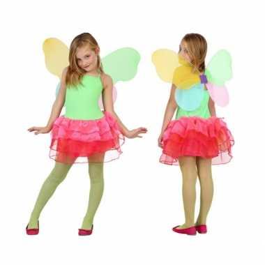 Kinder carnavalskleding vlinder groen/rood