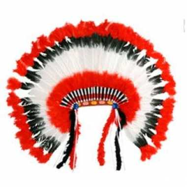 Kwaliteit indianentooi rood wit zwart carnavalskleding