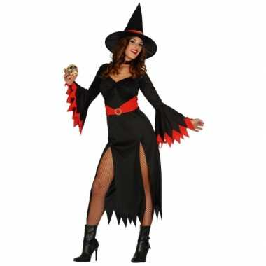 Lange heksen carnavalskleding zwart