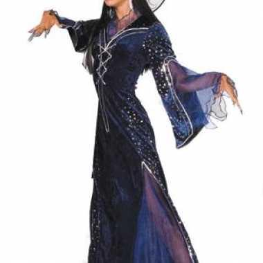 Lange paarse heksen carnavalskleding dames