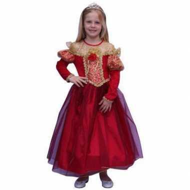 Lange rode prinsessen carnavalskleding